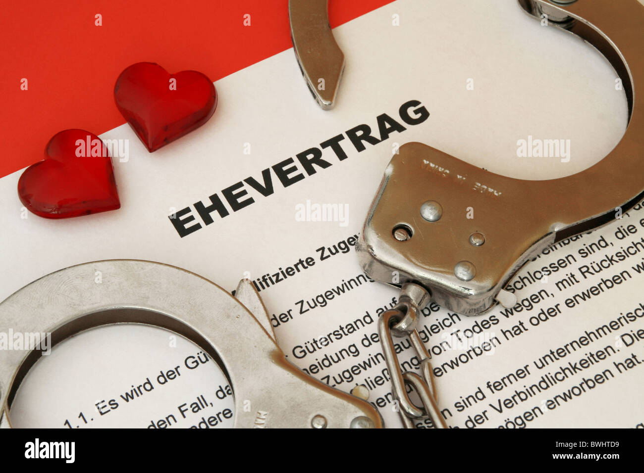marriage contract before partners mates contract by contract separation allow to part document paper held on - Stock Image