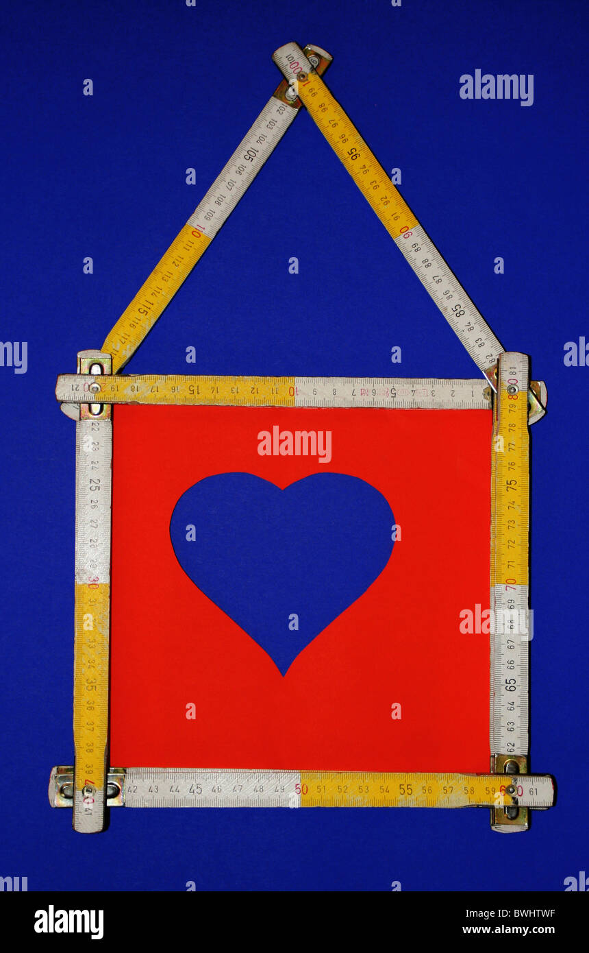 building house own home home build graduation scale folding rule heart feel fine fulfil at home native cou - Stock Image