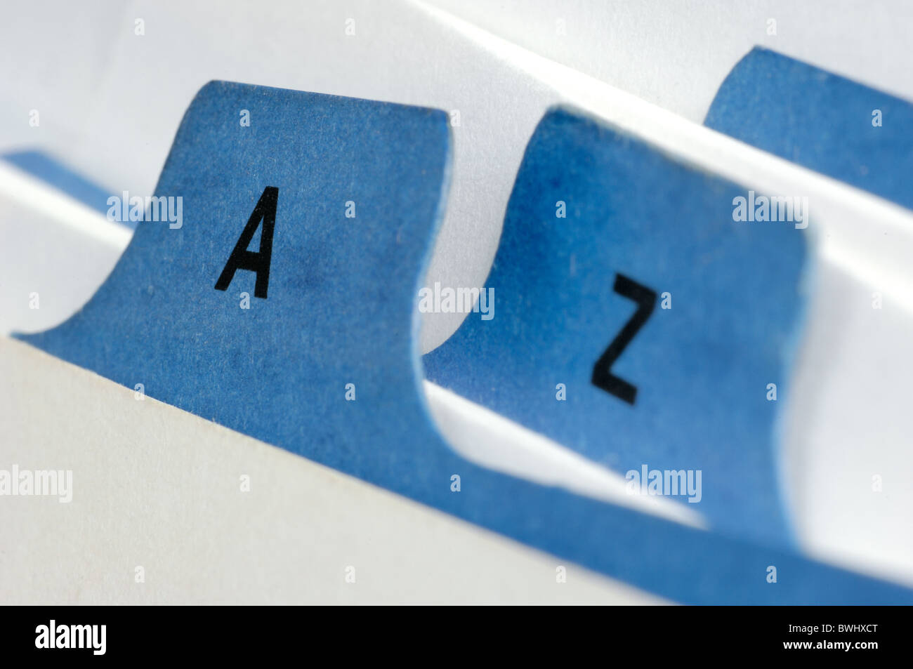Index cards A and Z - Stock Image