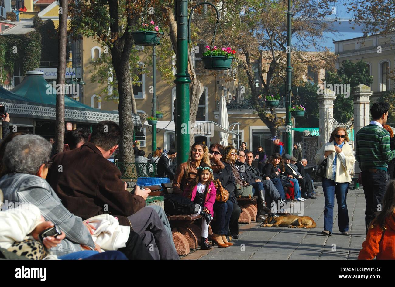ISTANBUL, TURKEY. A colourful street scene in the Bosphorus suburb of Ortakoy. 2010. Stock Photo