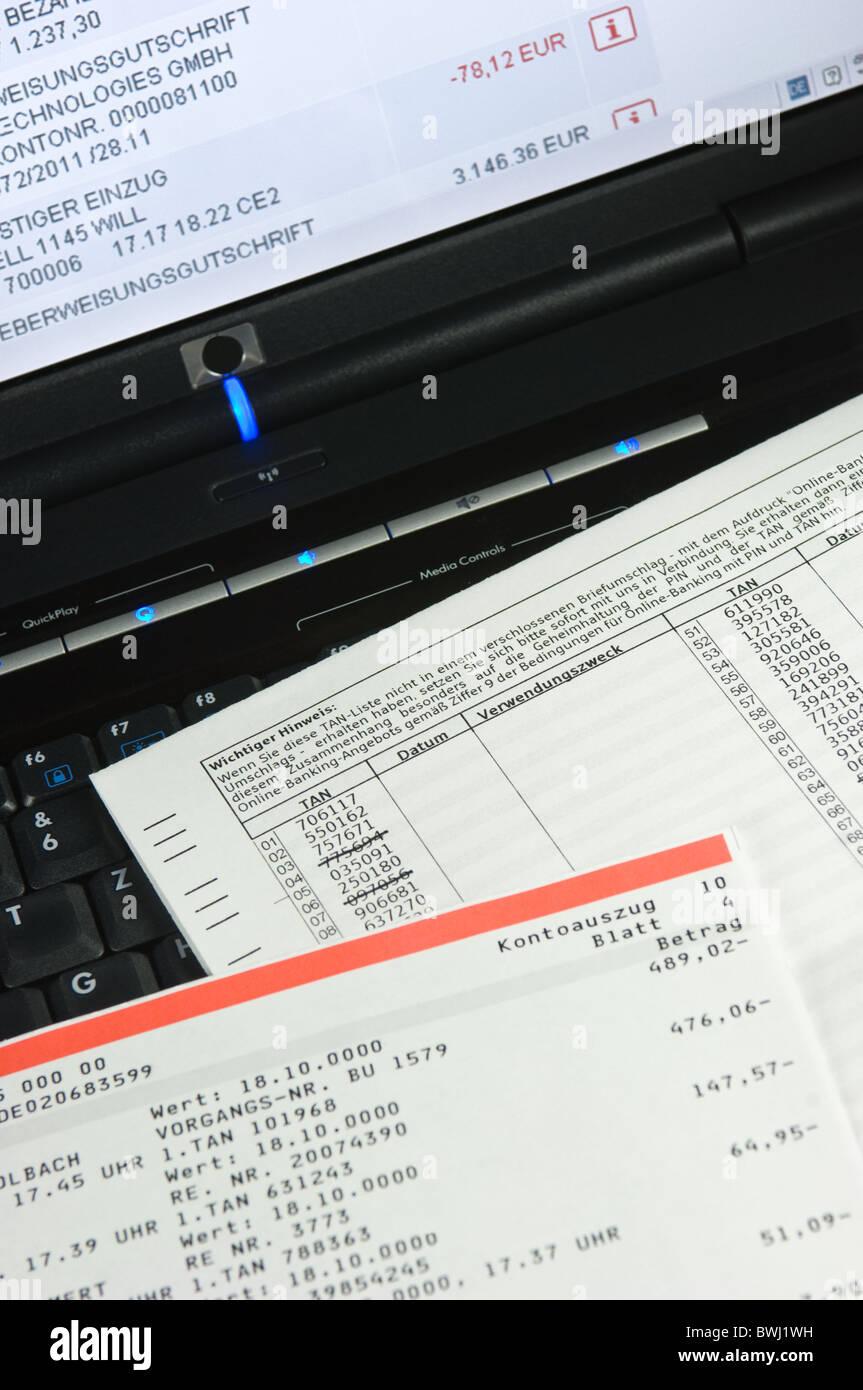 Online Banking, TAN-list - Stock Image