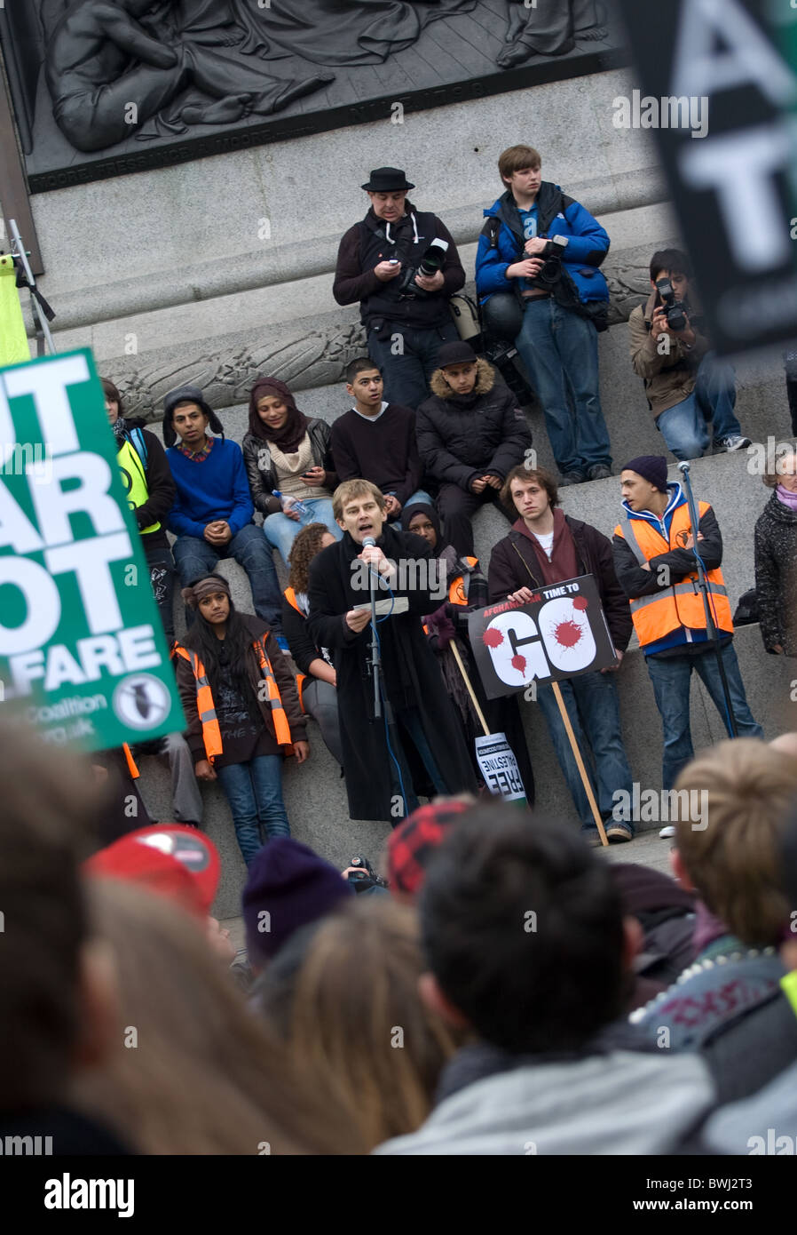 Seamus Milne voices his views at the Afghanistan Time To Go rally Trafalgar sq - Stock Image