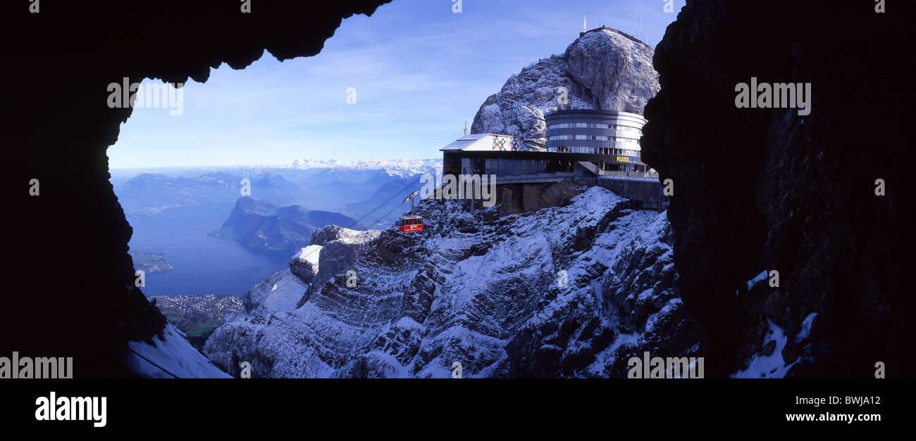 Pilatus summit peak station cable car ropeway aerial cableway gondola view Lake Lucerne Central Switzerland - Stock Image