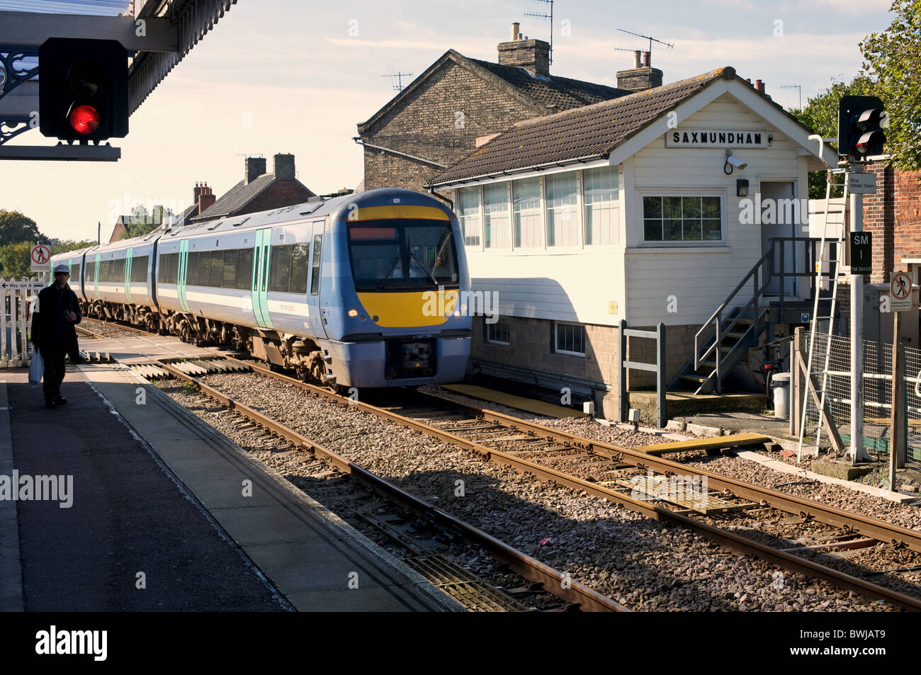 Saxmundham railway station on the 49-mile East Suffolk branch line between Ipswich and Lowestoft. - Stock Image
