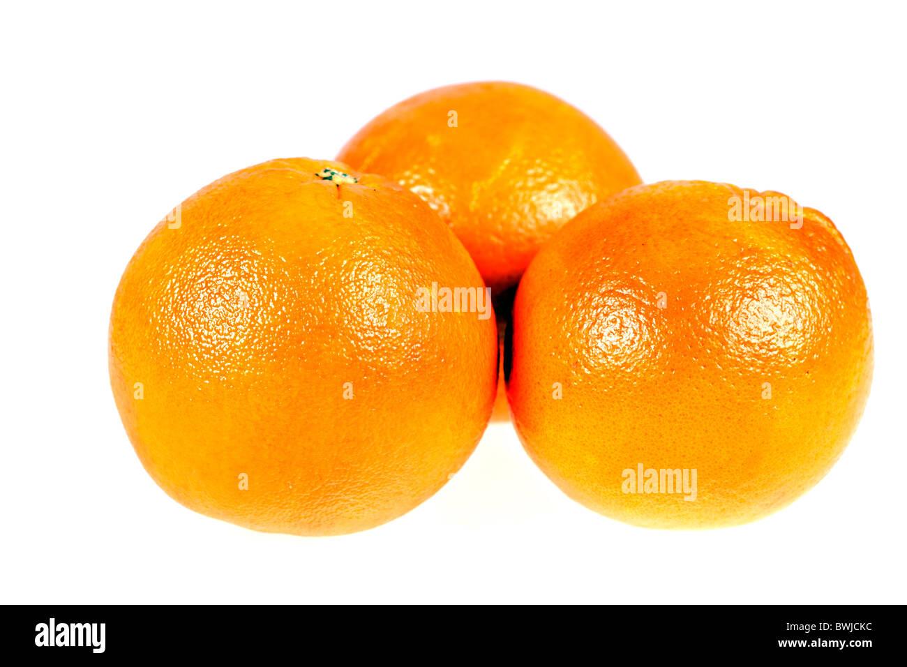 three juice oranges isolated on white background - Stock Image