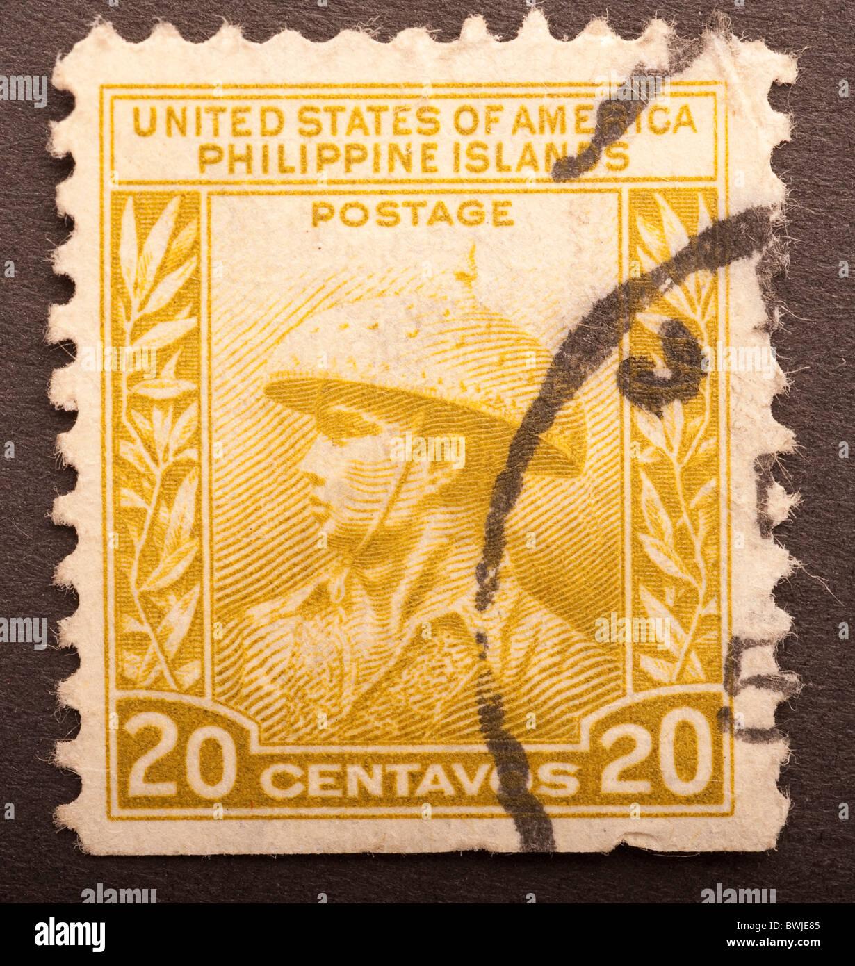 United States Of America Philippine Islands Postage Stamp 20 centavos - Stock Image