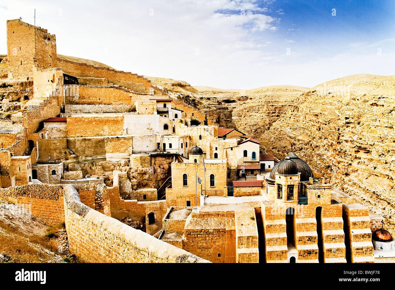 Judean Desert, Greek Orthodox Monastery Mar Saba on the slope of Wadi Kidron - Stock Image