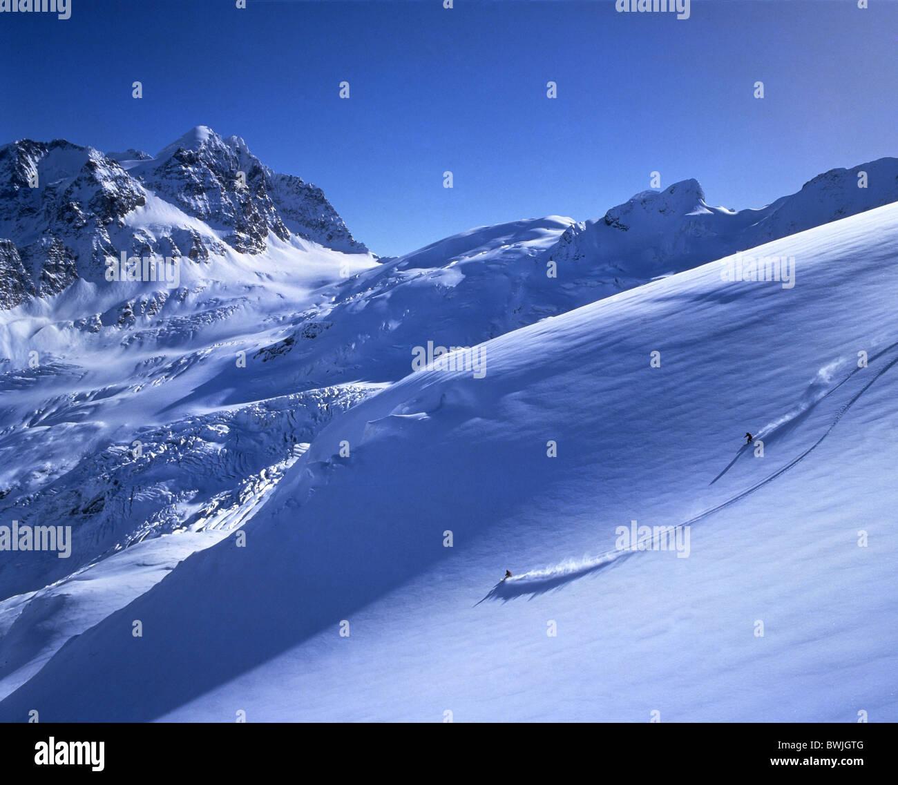 snowboard deep snow free riding slope inclination bernina region