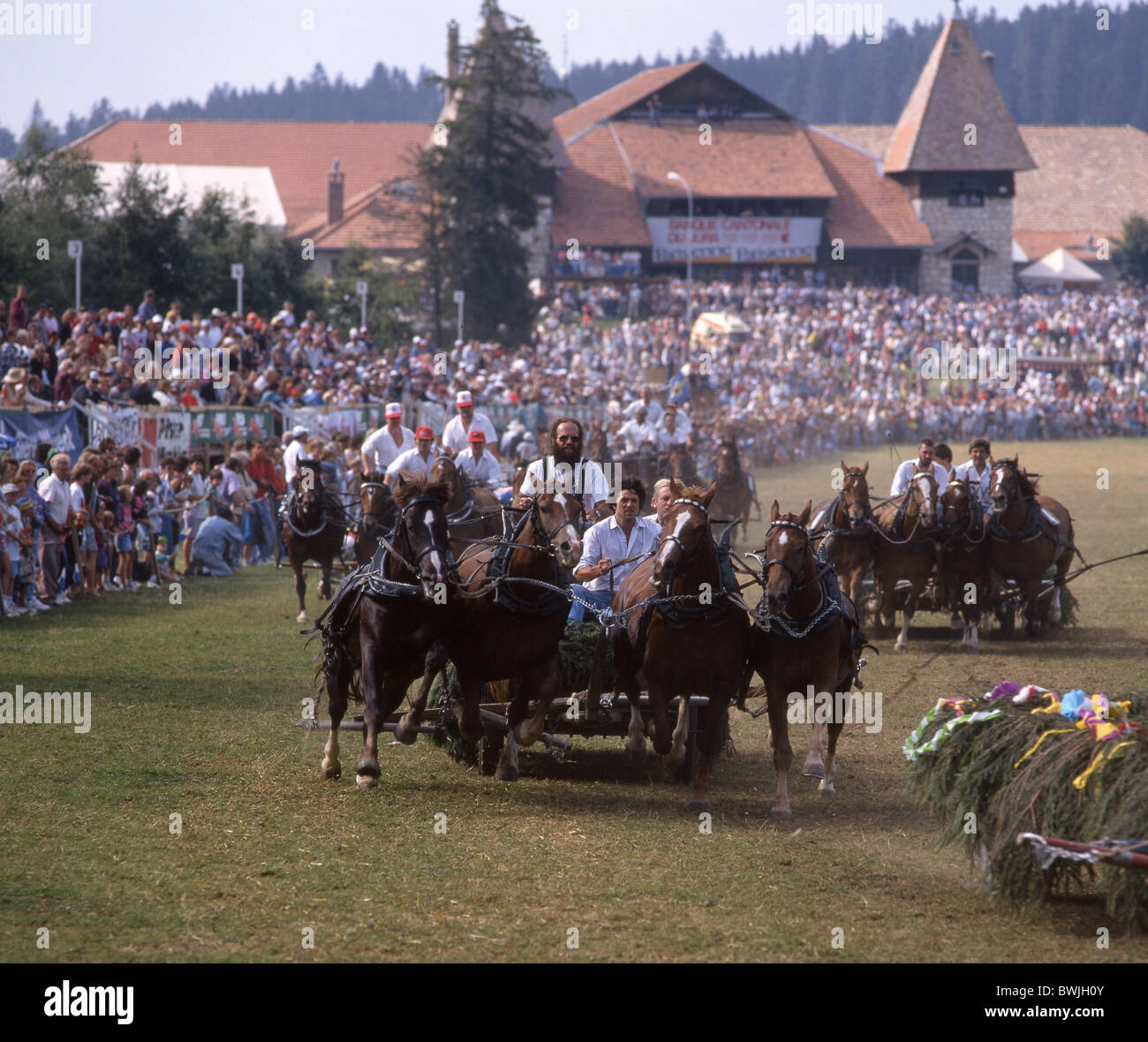 horse-racing horse market Marché-Concours national des chevaux car runnings spectators competition coaches - Stock Image