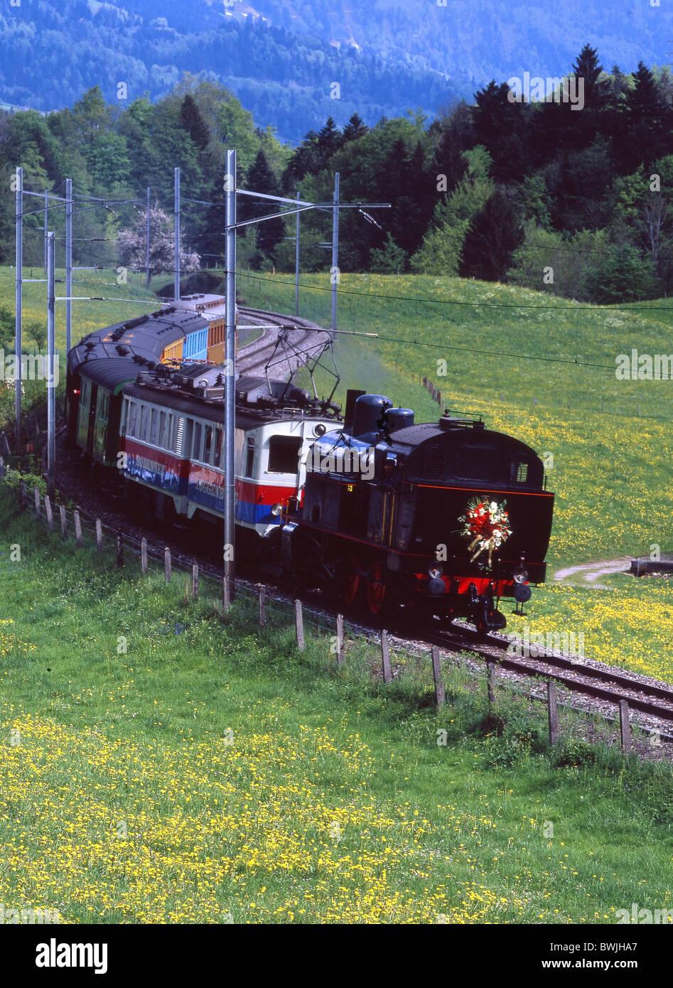 steam train Cupid train Amor Toggenburg steam vapor steam railway railway train railroad steam locomotive s - Stock Image