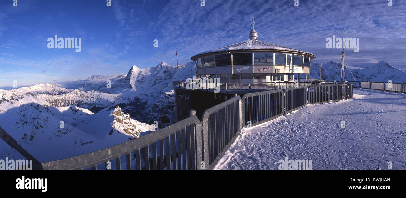 scenery landscape from Schilthorn station terrace Bern alpine chain mountains alps Eiger Monch Jungfrau Kle Stock Photo