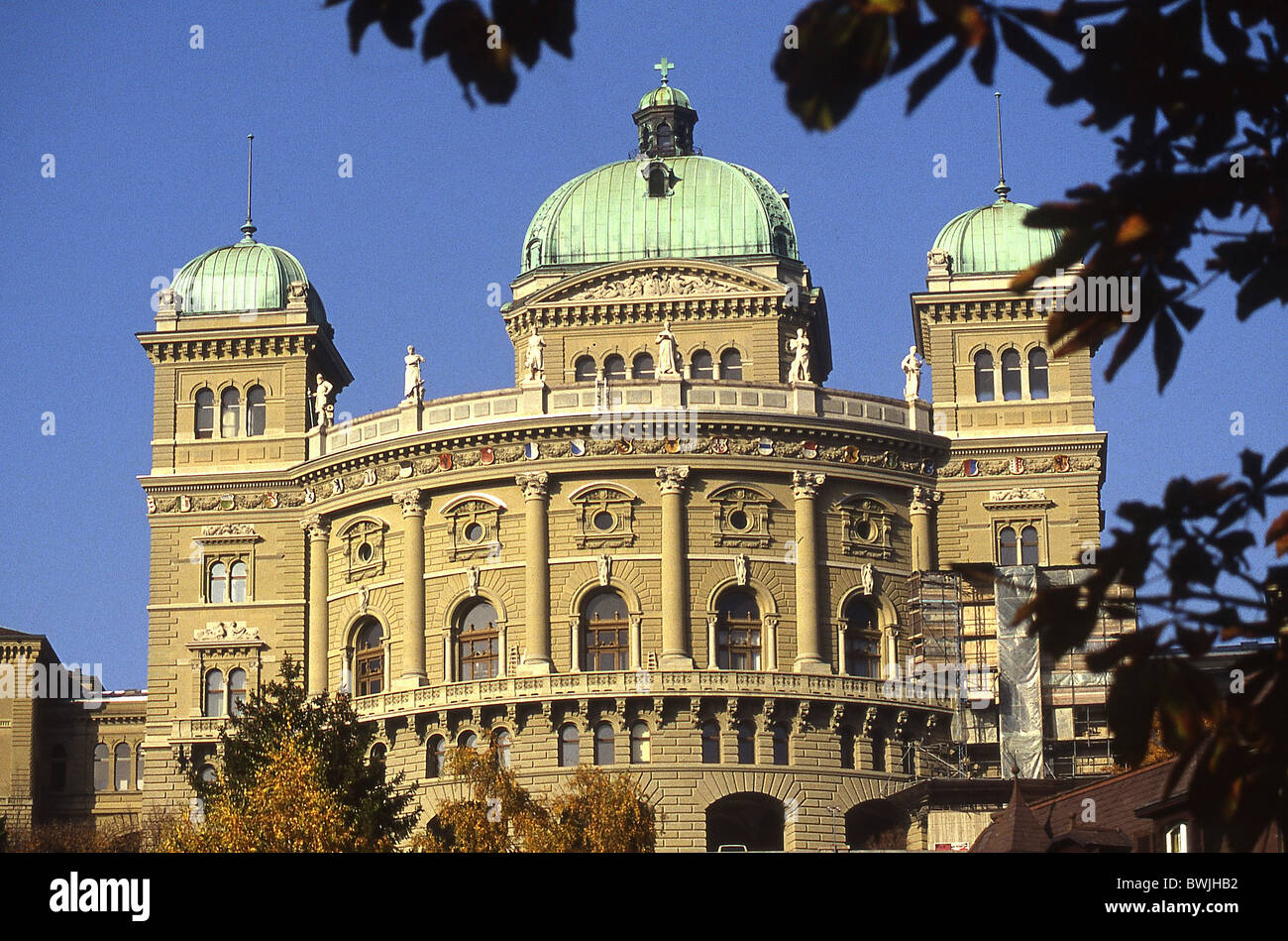 Federal Parliament Building town city Bern Berne building construction autumn Switzerland Europe - Stock Image