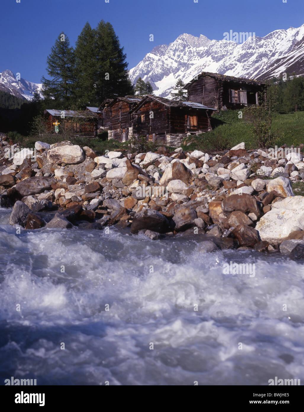 Lotschental Kuhmad hamlet settlement shore brook stream mountain brook Lonza mountains Alps canton Valais - Stock Image