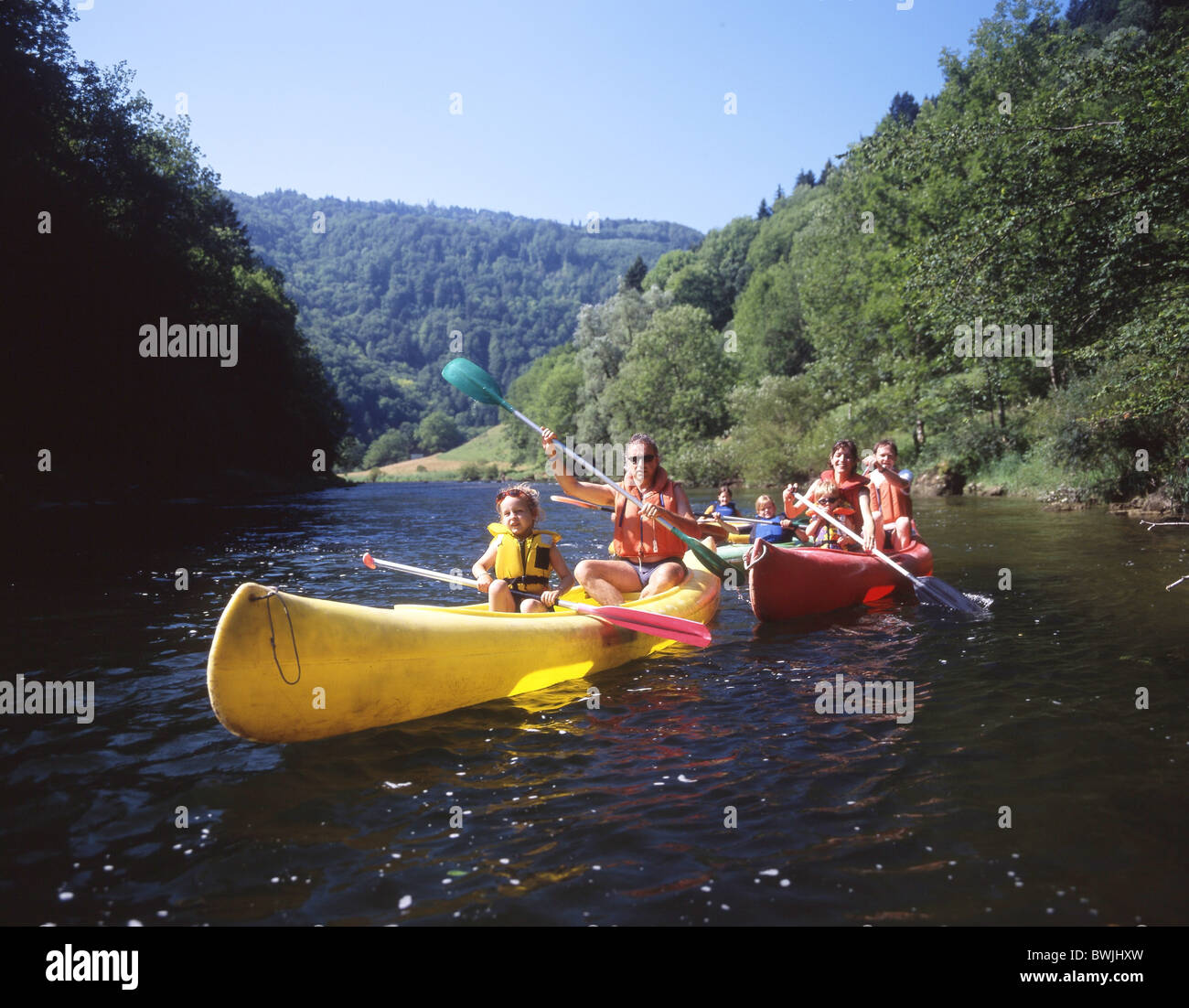 family river Doubs canoe spare time summer aquatic sports water sports to paddles Boat Canton Jura Switzerl - Stock Image