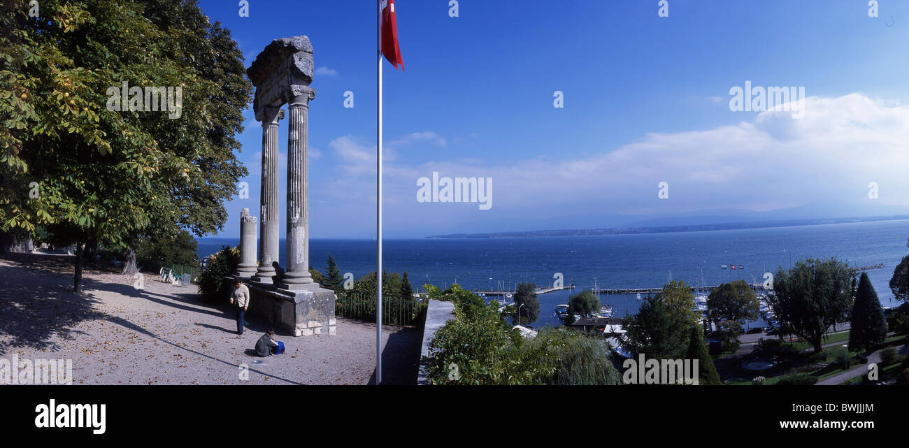 Nyon corinthian columns Roman antique antiquity Roman harbor port shore lake shore Leman Lake Geneva Lac L - Stock Image
