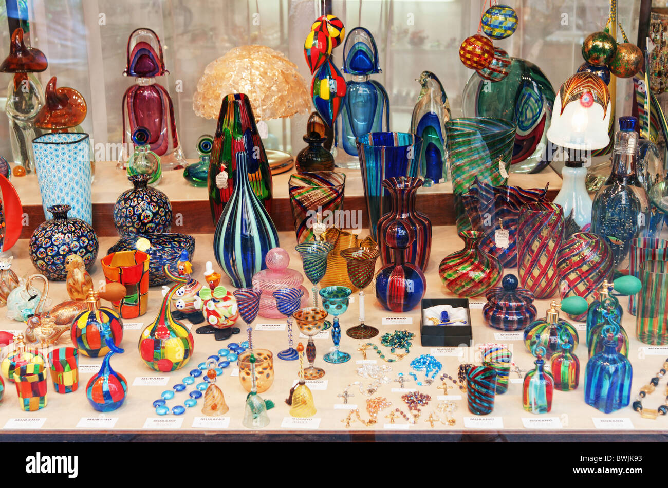 murano glass souvenir shop window venice italy stock photo 32987055 alamy. Black Bedroom Furniture Sets. Home Design Ideas