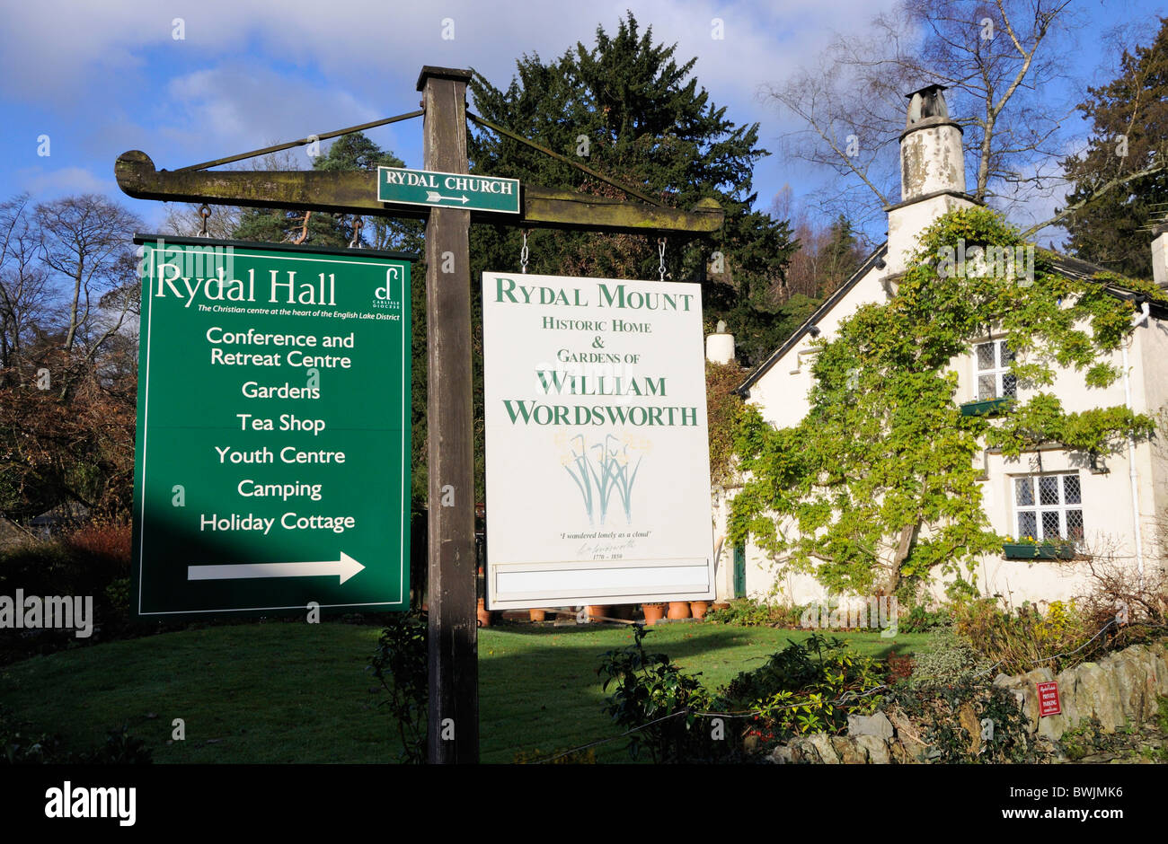 Sign to Rydal Hall and Rydal Mount, Lake District - Stock Image