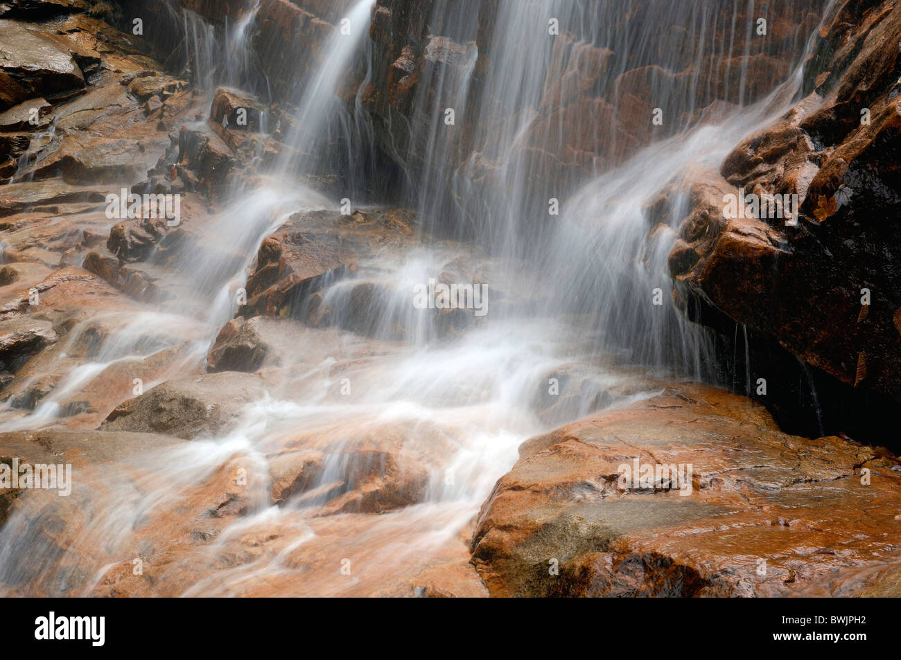 waterfall detail water rock cliff time exposure Arethusa Falls Crawford Notch State Park Indian summer New H Stock Photo