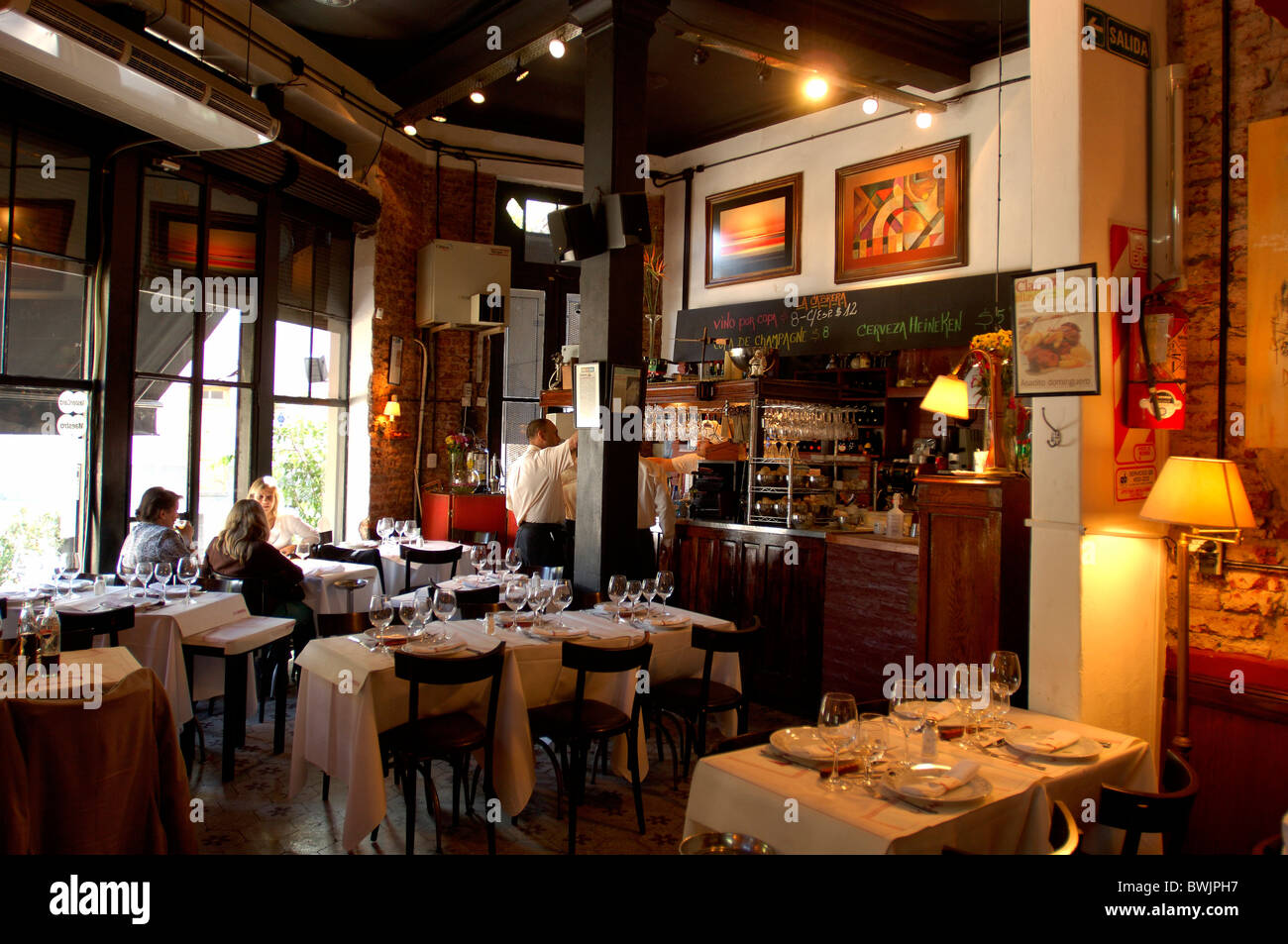 La Cabrera restaurant inside guests company catering trade Palermo Buenos Aires Argentina South America - Stock Image