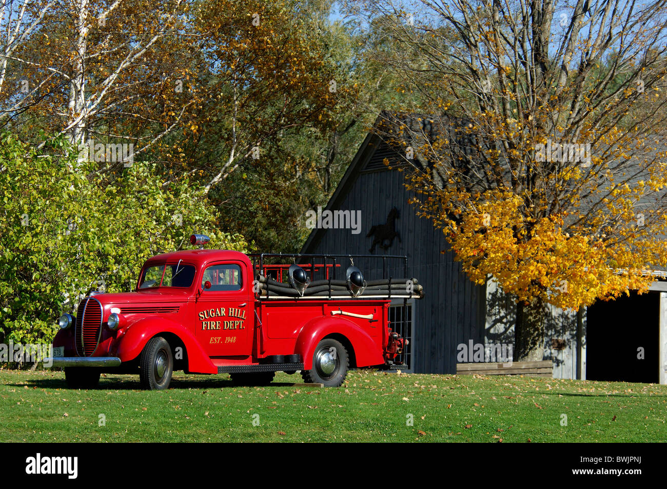 Fire Engine Fire Brigade Department Red Vehicle Vessel Fire Engine  Old Timer Autumn Sugar Hill