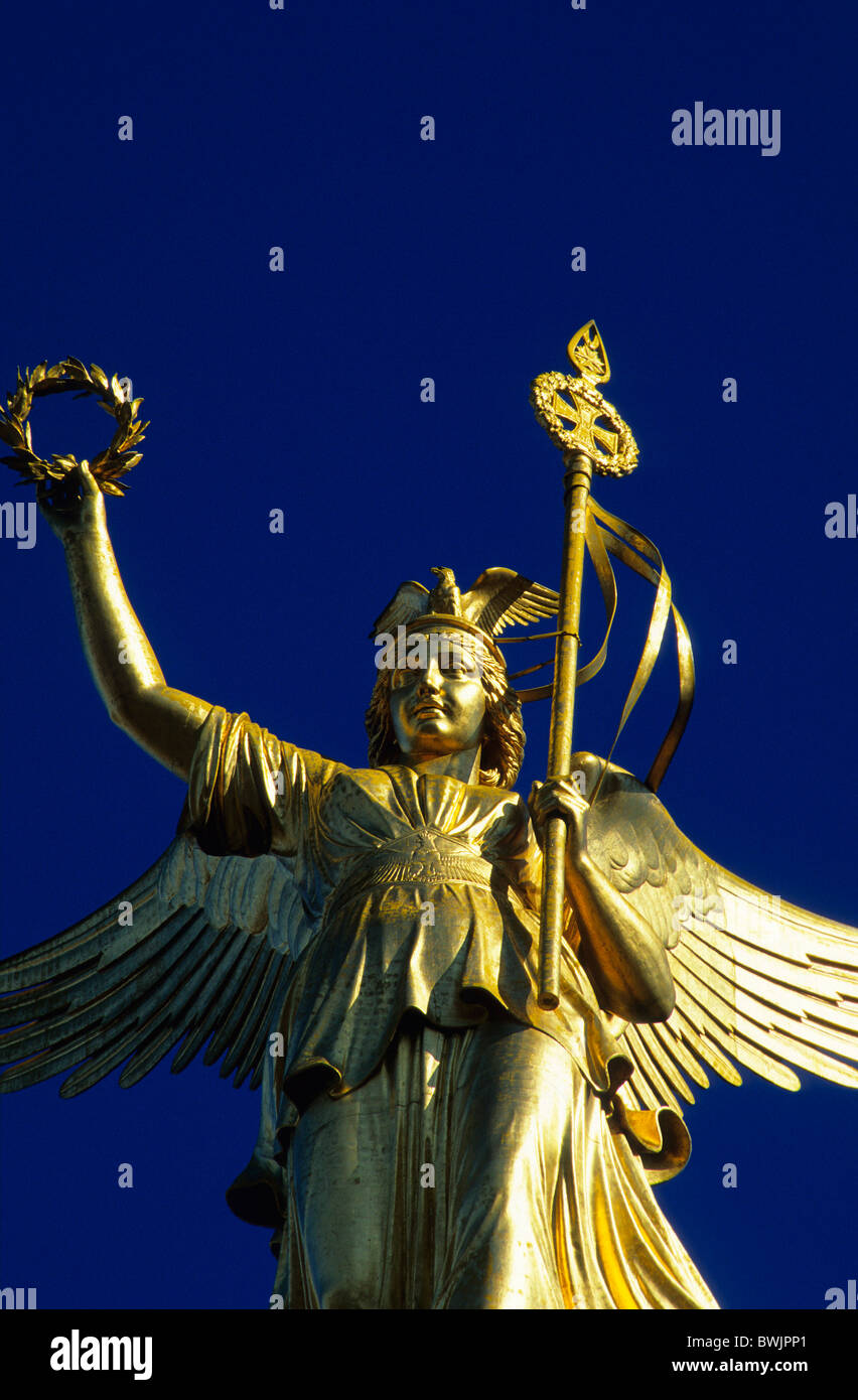Europe, Germany, Berlin, Bronze sculpture of Victoria on top of the Berlin victory column - Stock Image
