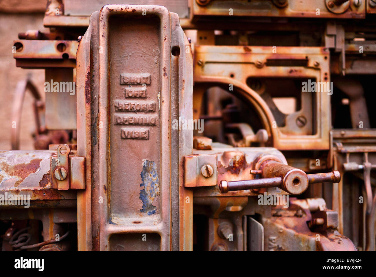 Old typesetting machine, Dolores, Colorado - Stock Image
