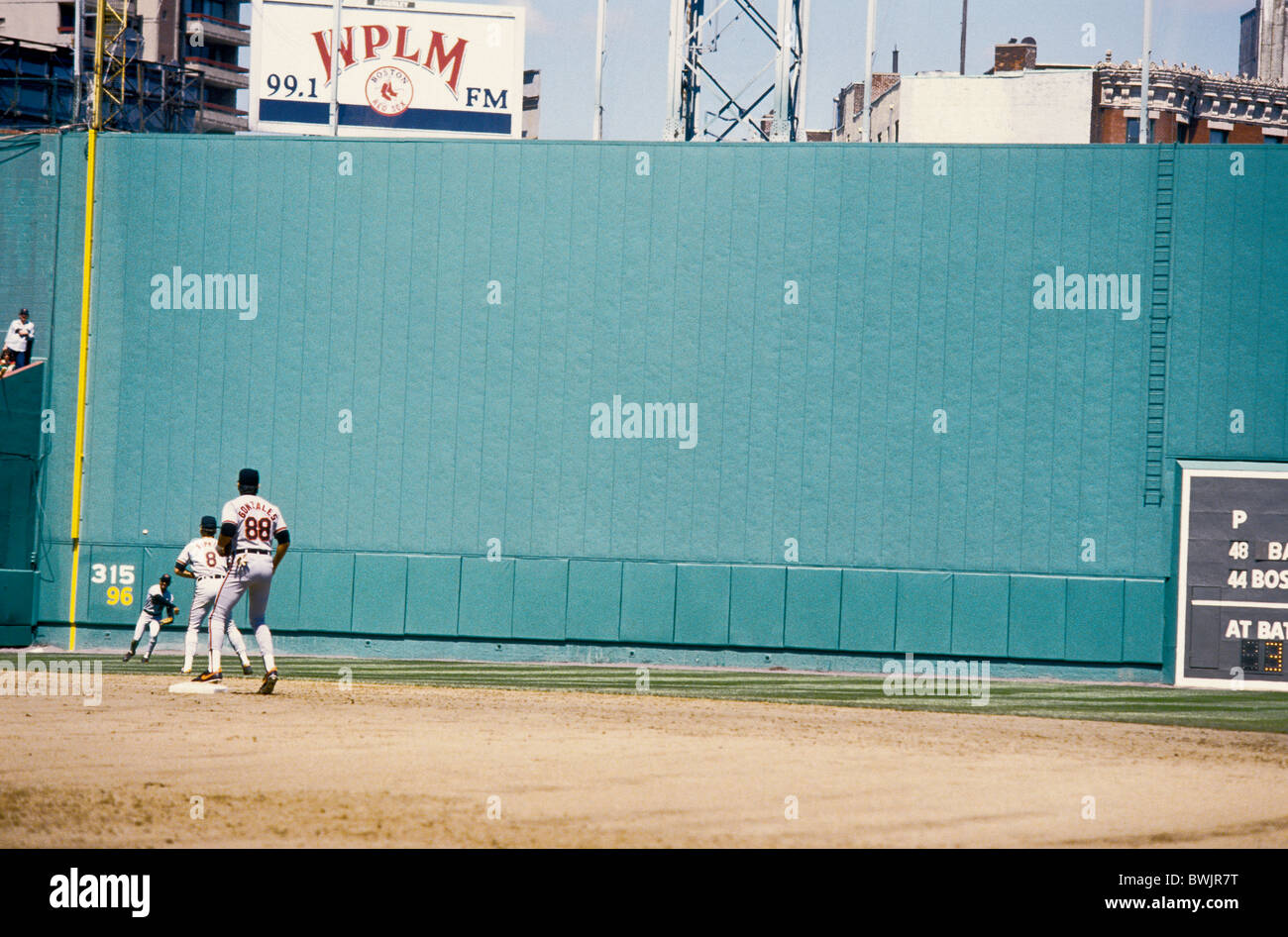 Green Monster at Fenway Park home of the MLB Boston Red Sox. - Stock Image