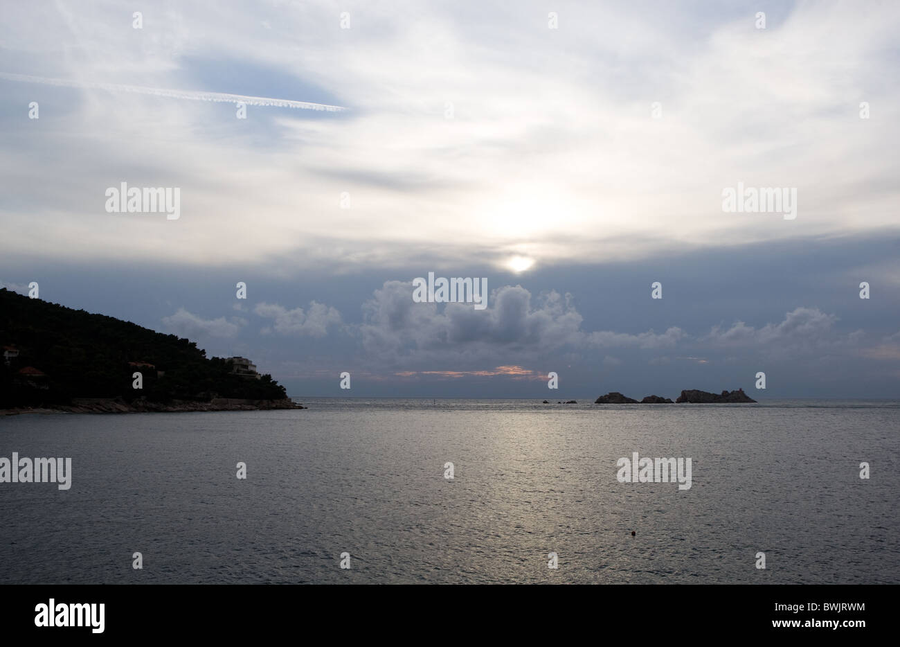 View of the Adriatic Sea on the Dalmatian Coast at sunset from Dubrovnik, Croatia - Stock Image
