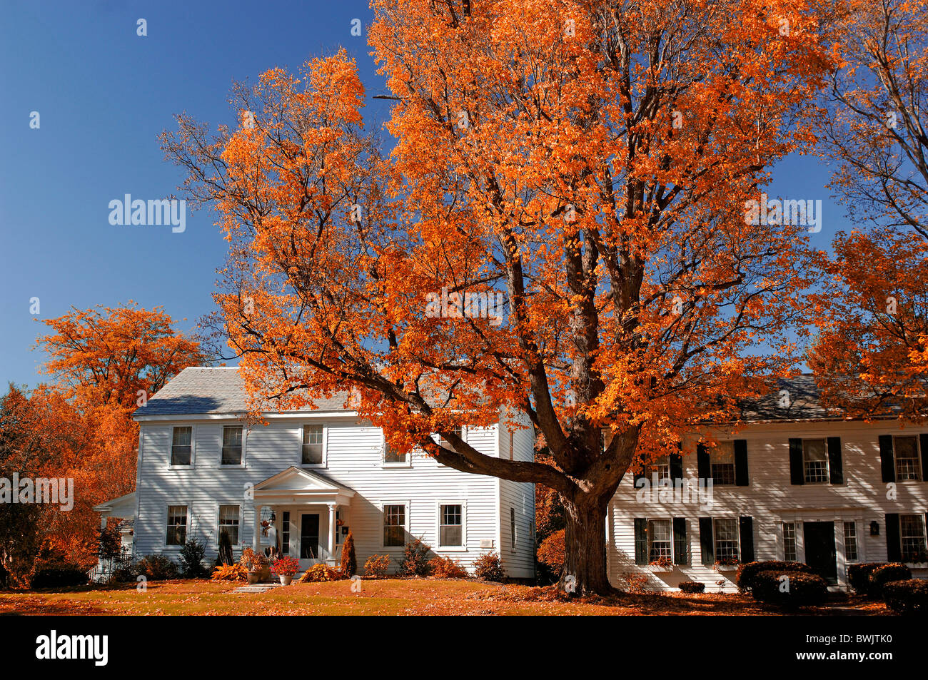houses homes residential building s white autumn Old Bennington Indian summer Vermont USA America United Sta - Stock Image