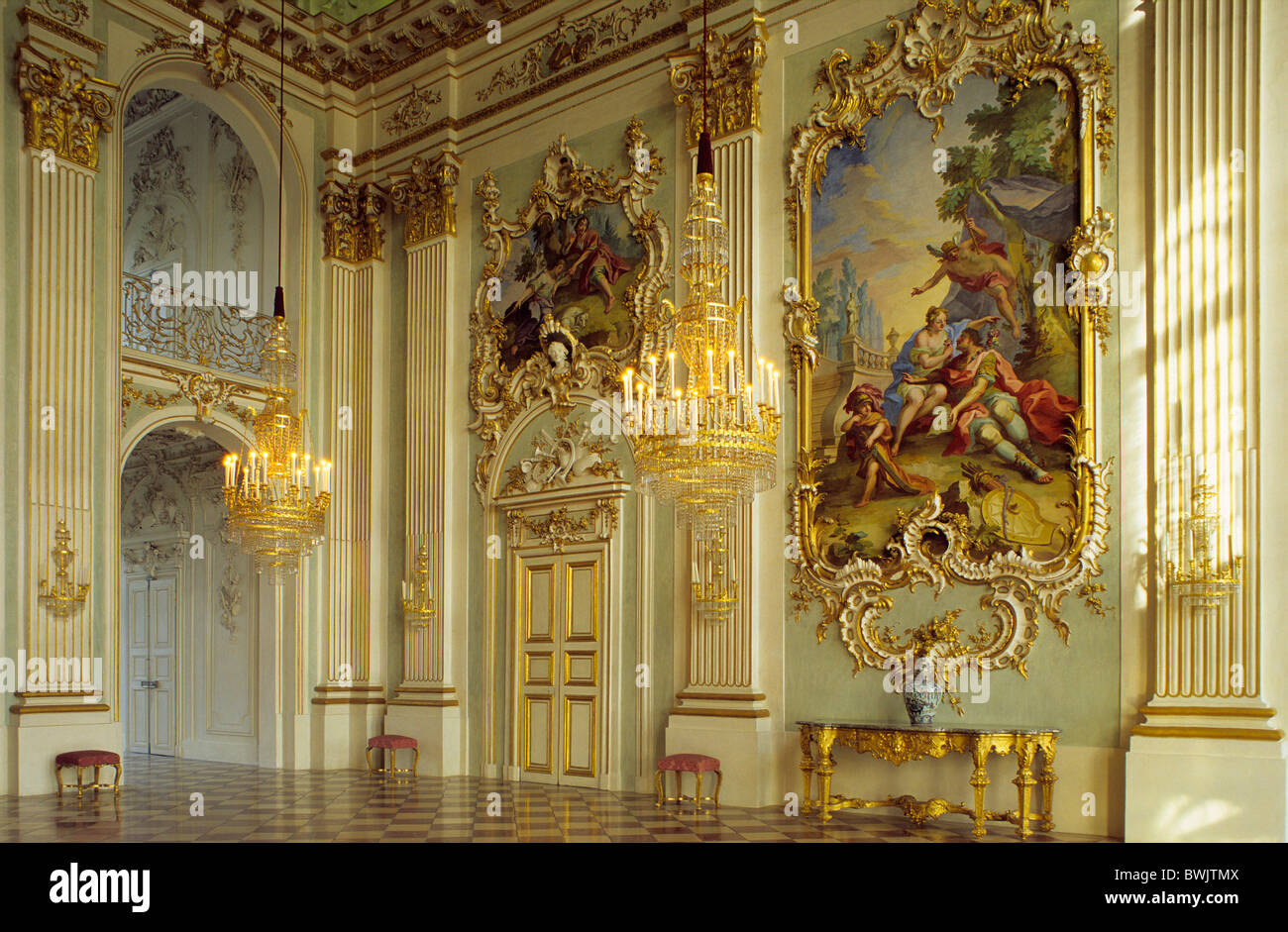 Delicieux Europe, Germany, Bavaria, Munich, Nymphenburg Palace, Interior View Of The  Hall