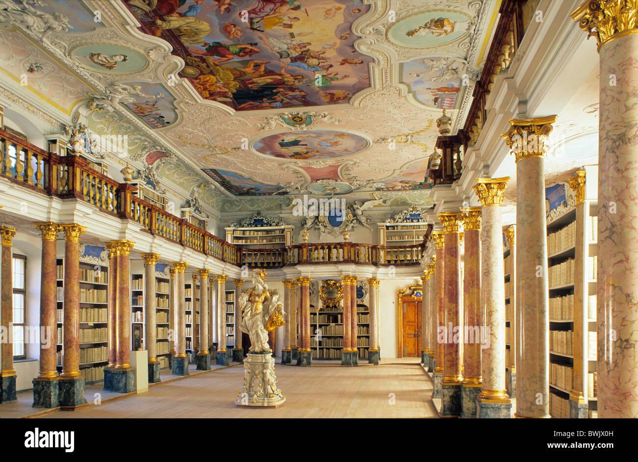Europe, Germany, Bavaria, Ottobeuren, Ottobeuren Abbey Library - Stock Image