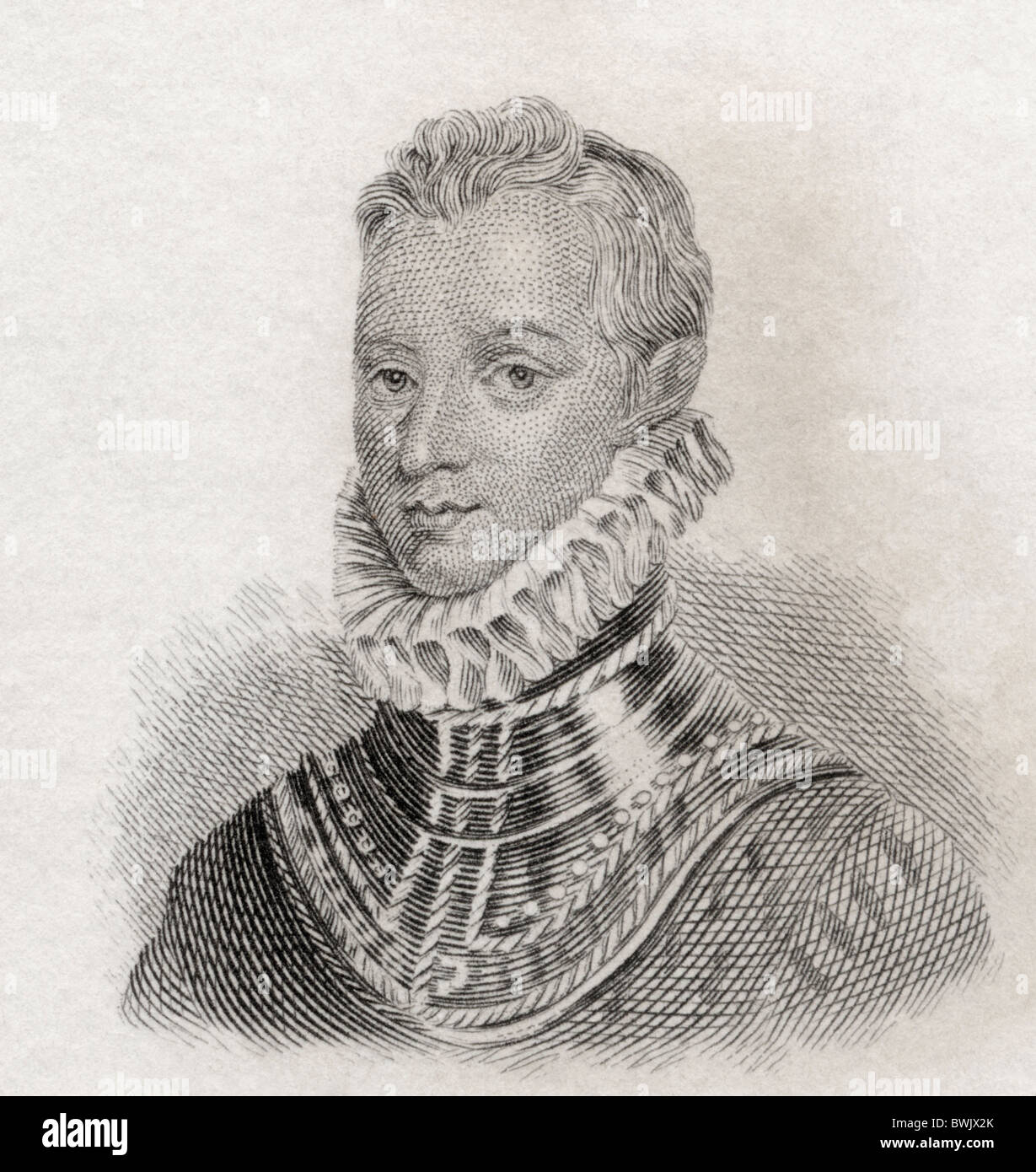 Sir Philip Sidney, 1554 to 1586. Elizabethan poet, courtier and soldier. - Stock Image