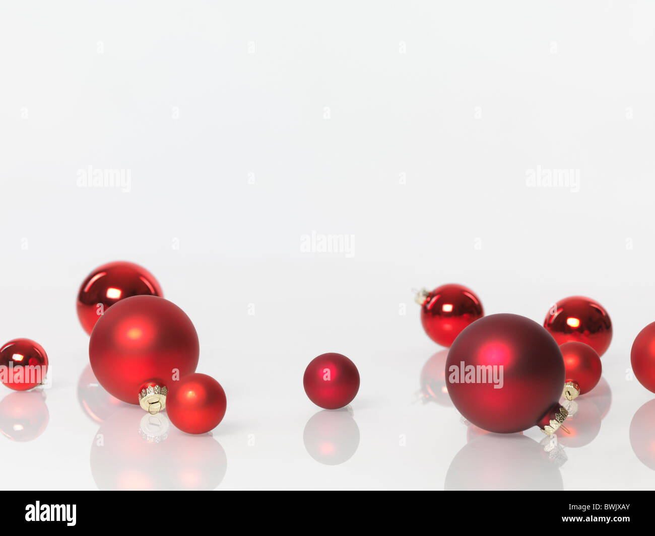 christmas decoration ornament red glass baubles isolated on white background with copy space