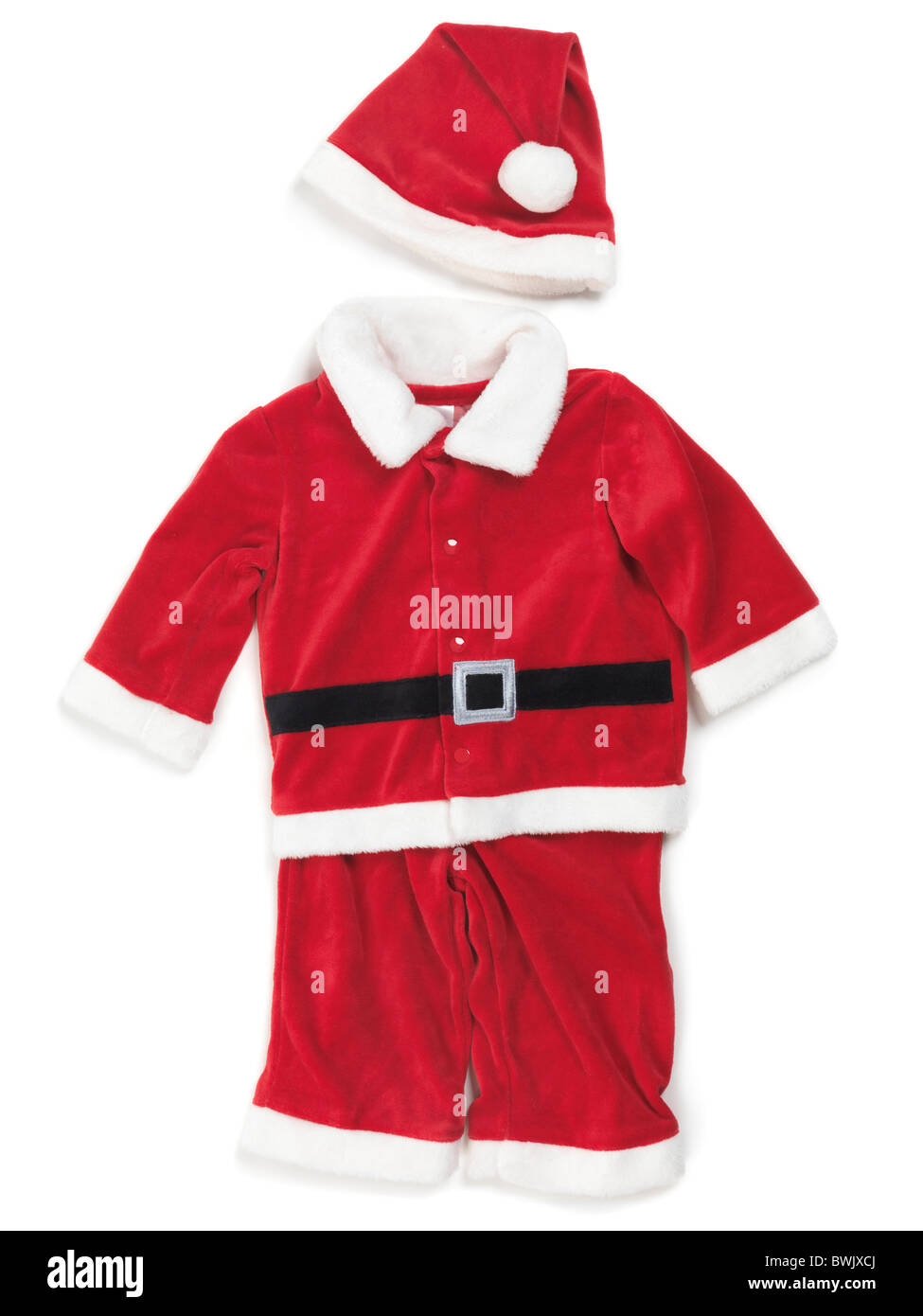 762804446449 Red baby santa costume. Isolated outfit on white background Stock ...