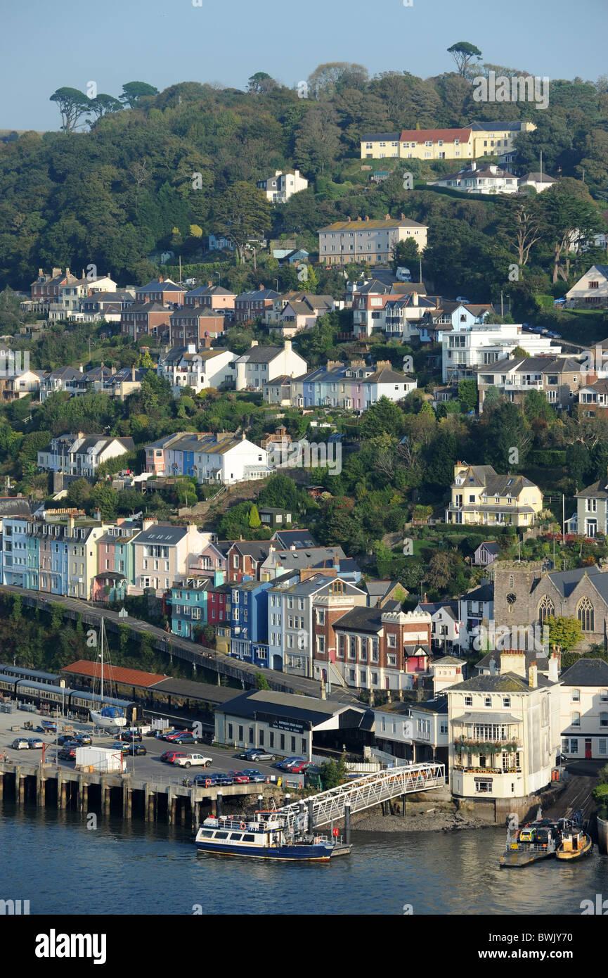 Hillside properties Dartmouth Devon Uk - Stock Image