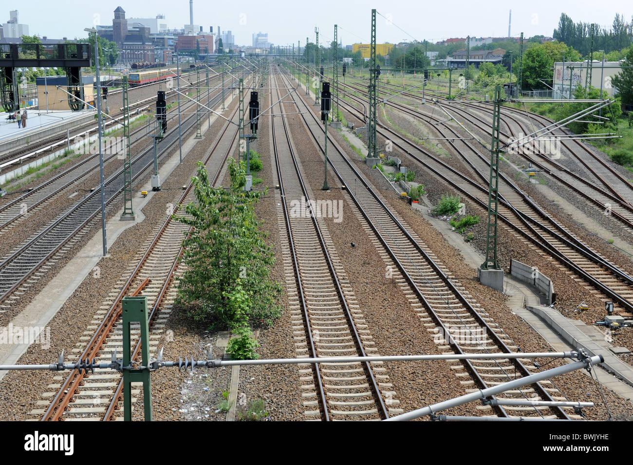 Railway tracks at Beusselstraße station Berlin Germany Deutschland Europe - Stock Image