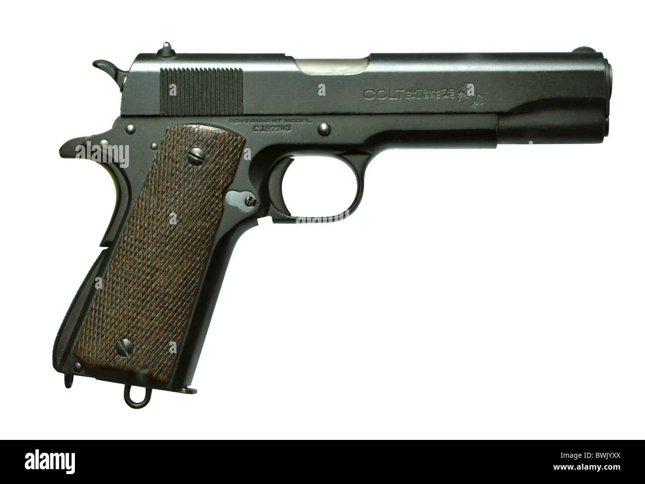 Colt Semi Automatic Pistol .45 calibre M1911A - Stock Image