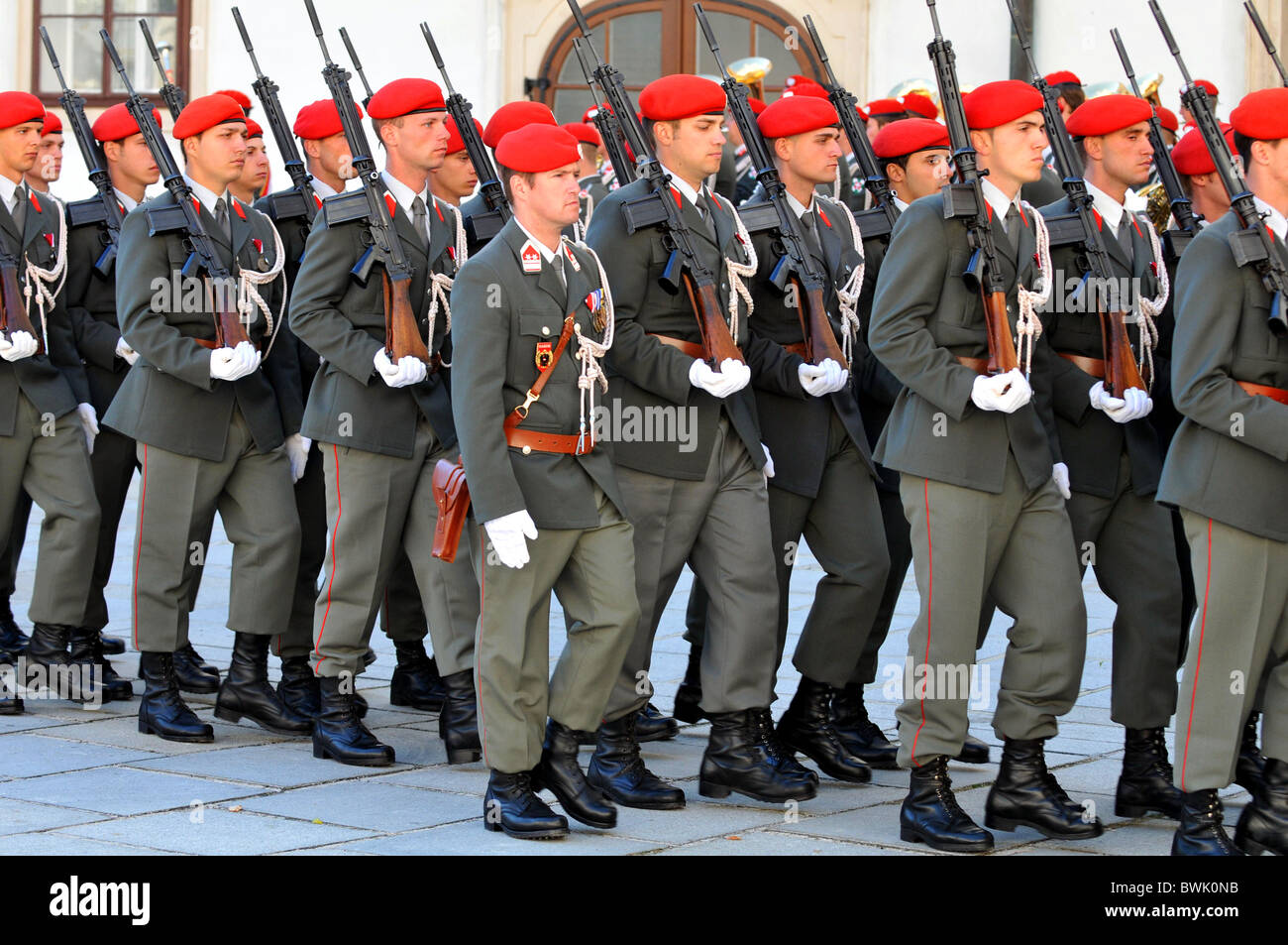 Austrian soldiers parade, Austria - Stock Image