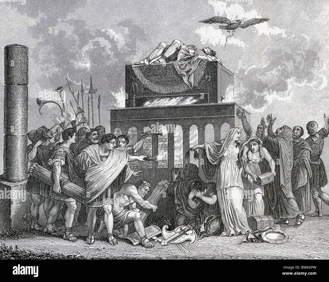 Funeral of an emperor in ancient Rome. - Stock Image