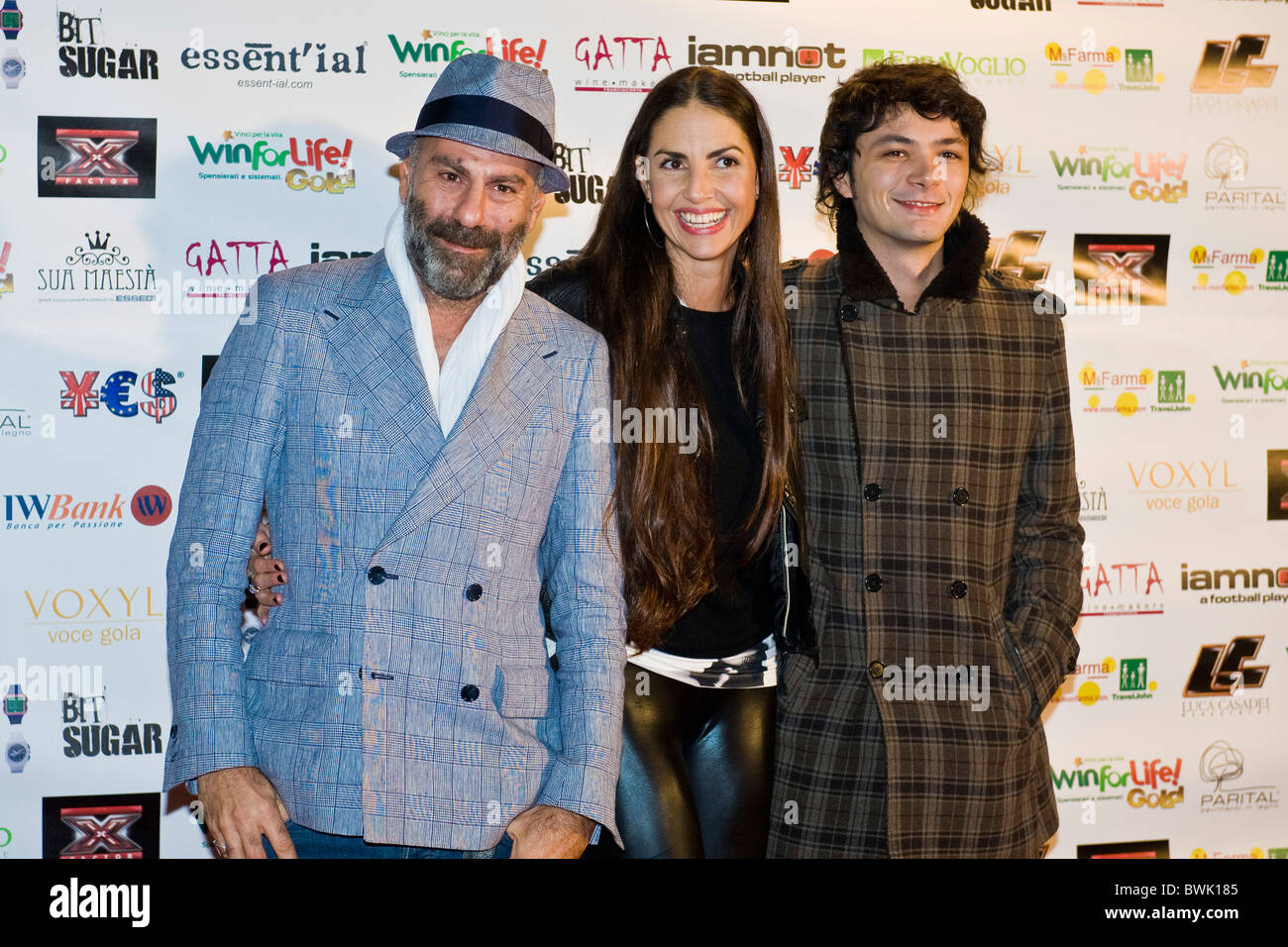 Pierpaolo Peroni, Benedetta Mazzini, Carlo Pastore, X Factor Red Carpet, Milan 2010 - Stock Image