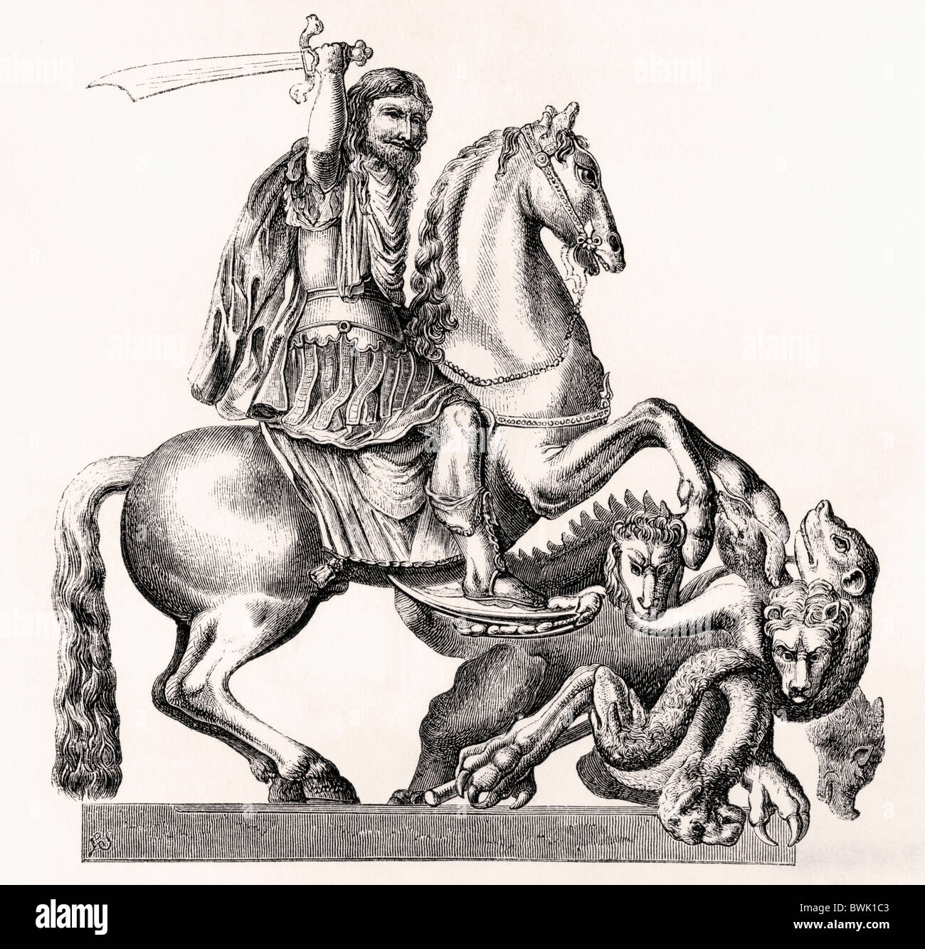King Charles II of England represented as St George slaying the dragon. 17th century equestrian statue by Gottfried - Stock Image