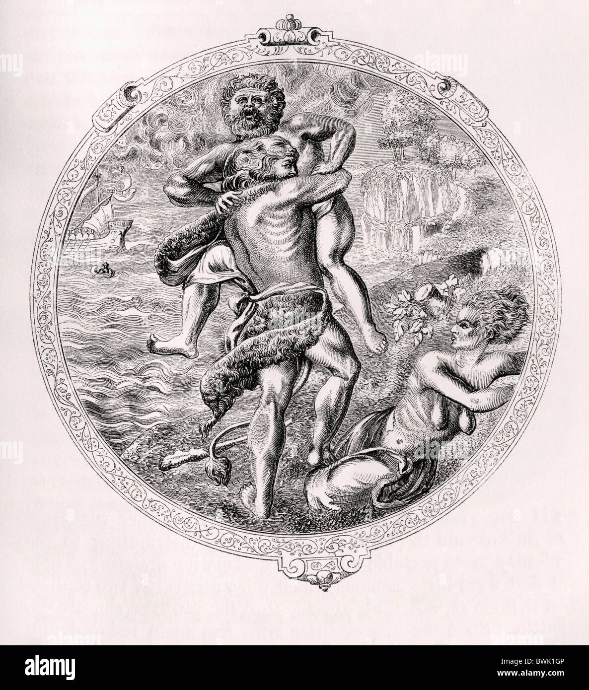 Hercules and Antaeus. Medallion on the horse-armour of Christian II, Elector of Saxony. - Stock Image