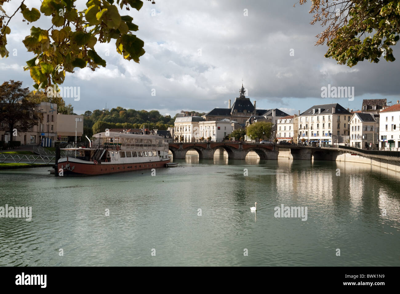 Swan on the river Marne in Meaux, Ile de France Northern France - Stock Image