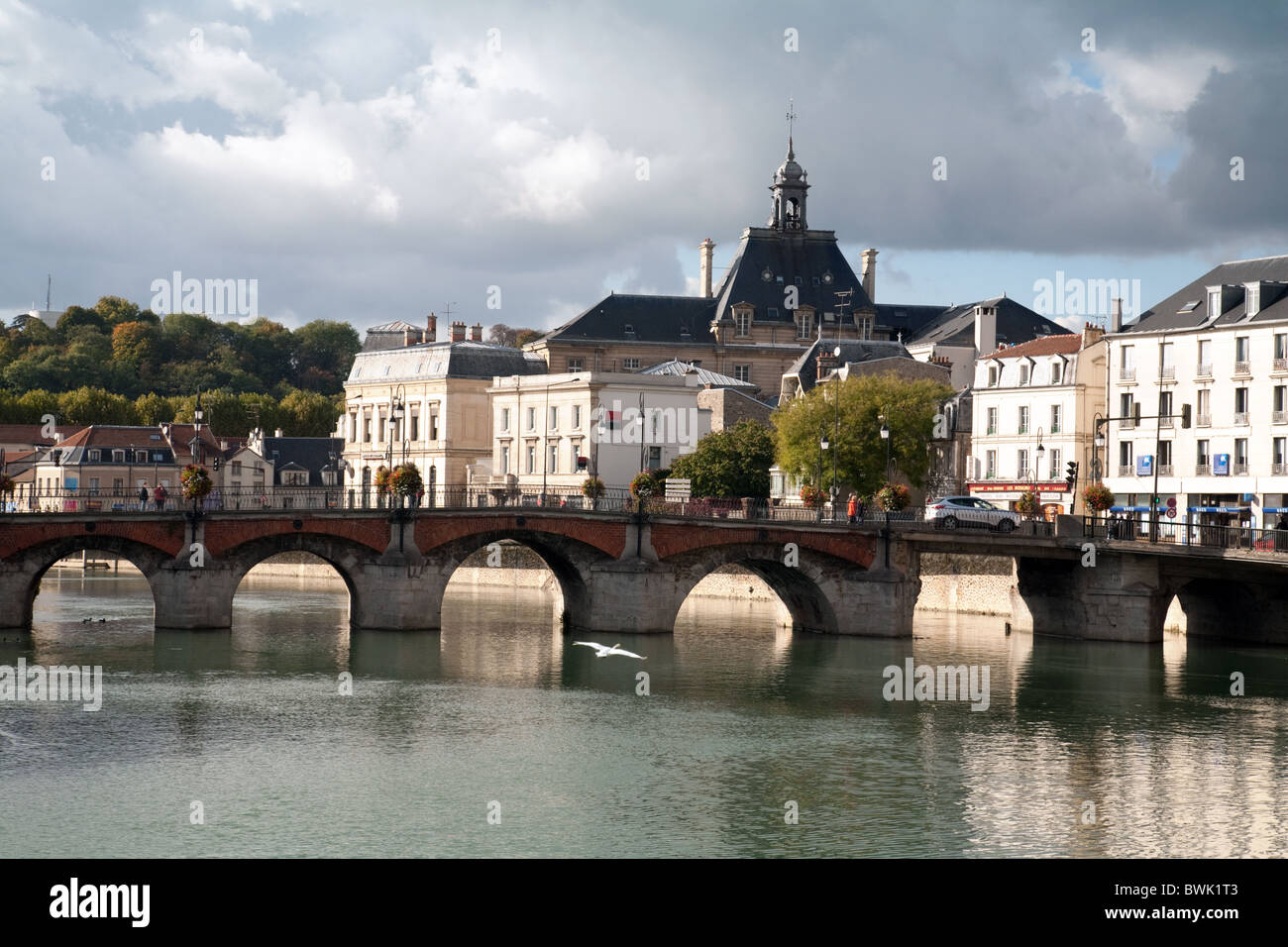 The river Marne in Meaux, Ile de France Northern France - Stock Image