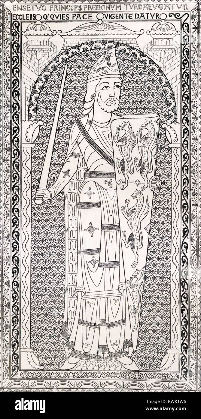 Geoffrey V, first of the Plantagenets, and also known as Le Bel or The Handsome, 1113 - 1151. - Stock Image