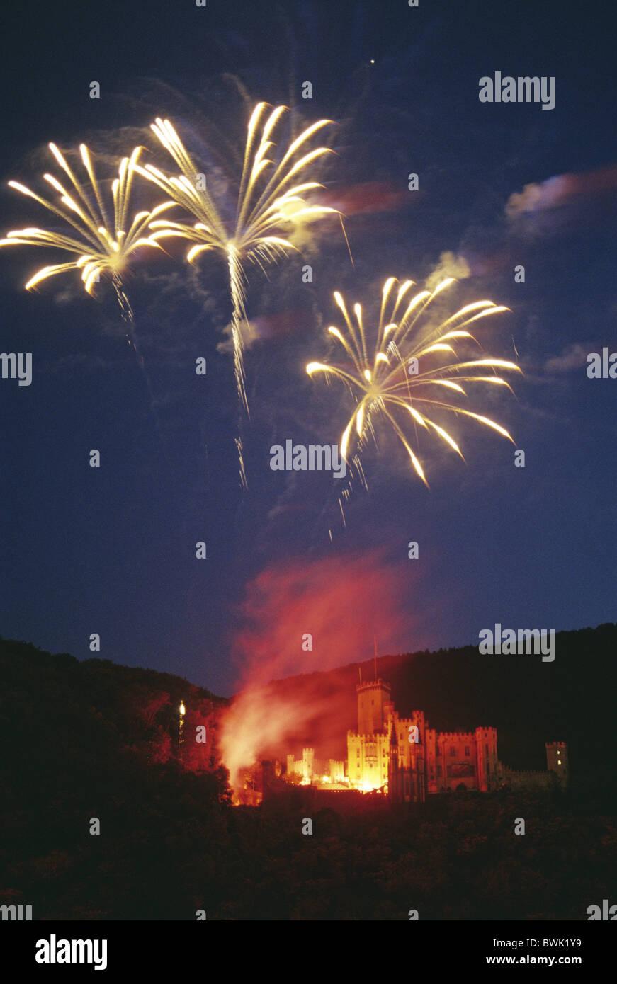 Fireworks at Stolzenfels castle, Rhein in Flammen, near Koblenz, Rhine, Rhineland-Palatinate, Germany - Stock Image