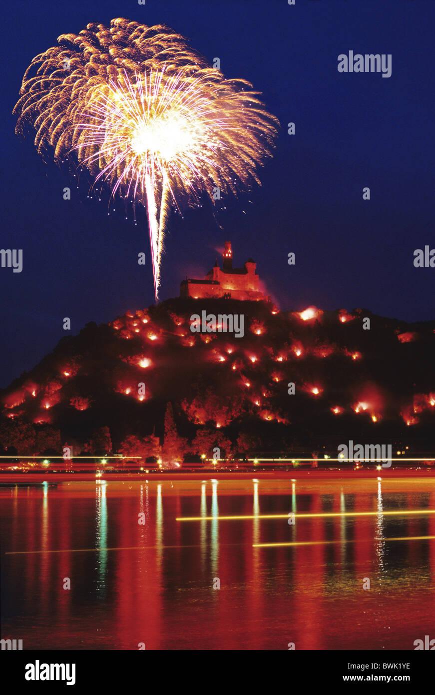Fireworks near Marksburg castle, Rhein in Flammen, near Koblenz, Rhine, Rhineland-Palatinate, Germany - Stock Image