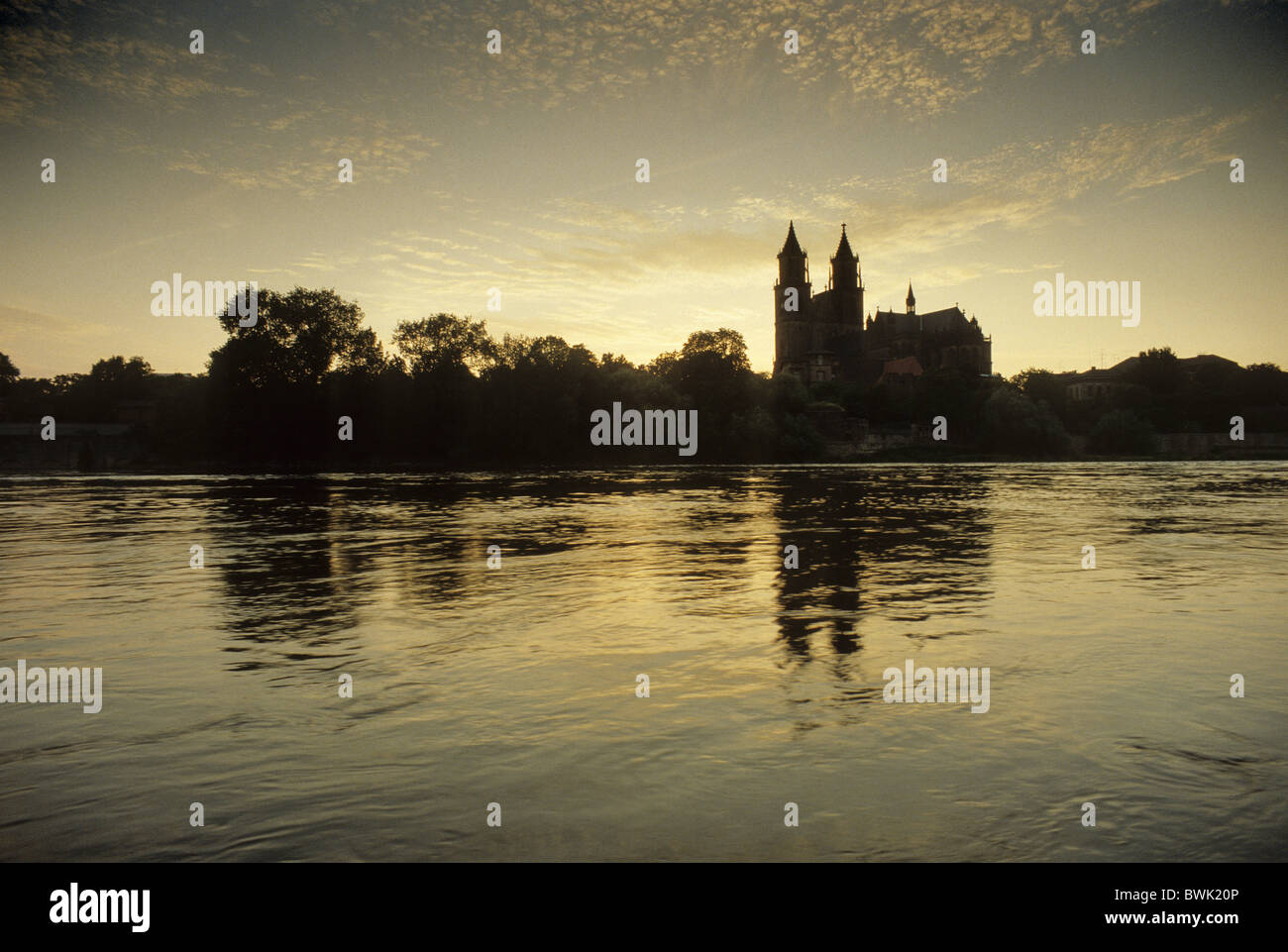 Magdeburg Cathedral, panoramic view from the river Elbe, Magdeburg, Saxony-Anhalt, Germany - Stock Image