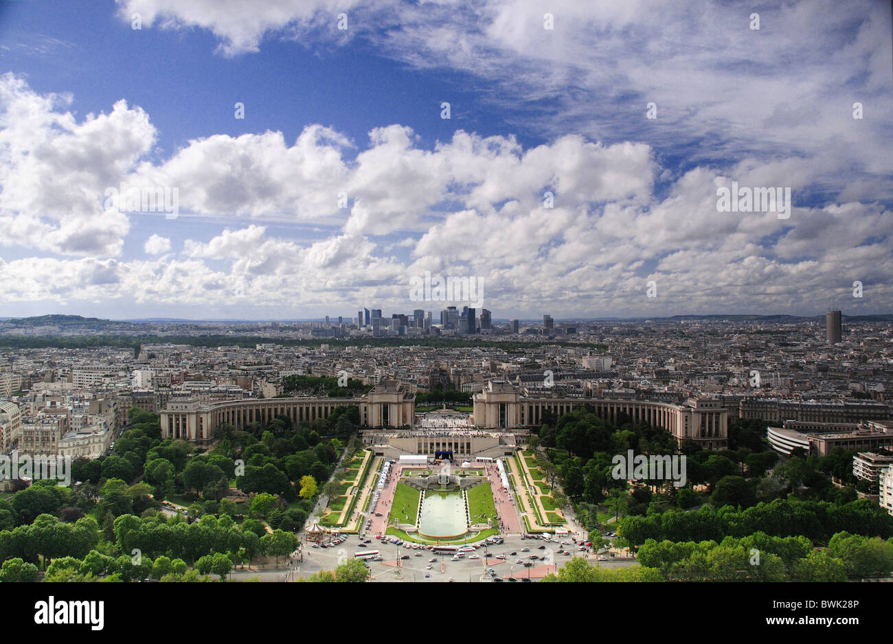 North West view over Paris From Eiffel Tower showing, Palais de Chhaillot, Jardins du Trocadero and La Defense in Stock Photo