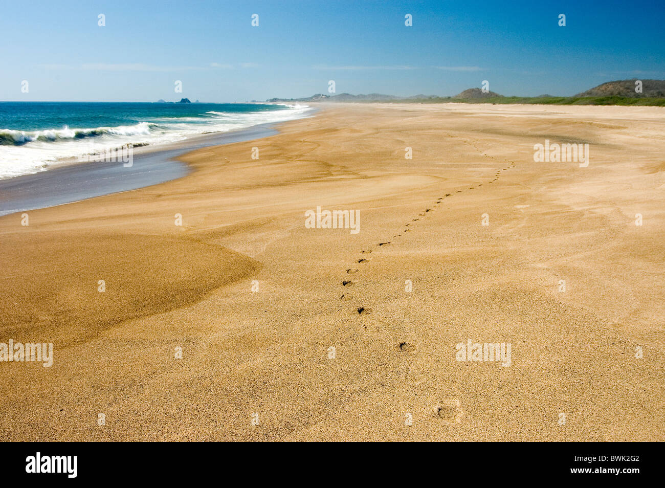Footprints On Beach Sea Coast Landscape Tenacatita Jalisco Mexico Central America